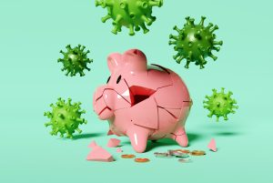 A cracked piggy bank surrounded by a virus. Covid-19 cornonavirus ruining saving plans and financial futures.